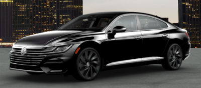 2019 VW Arteon exterior front fascia and driver side Deep Black Pearl