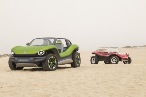 vw id buggy with red buggy in sand