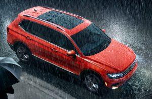top view of orange vw tiguan in the rain