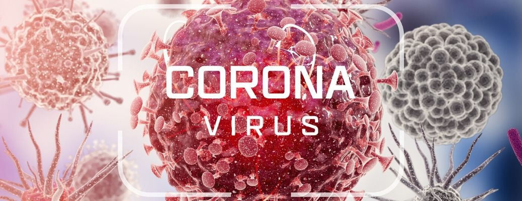Coronavirus text over microscopic germs