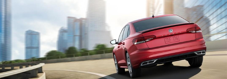 rear view of the red 2020 Volkswagen Passat