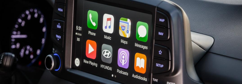 Hyundai Kona infotainment system close-up