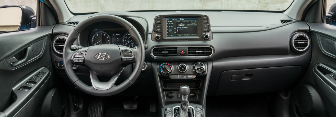 2018 Hyundai Kona interior steering wheel and dash