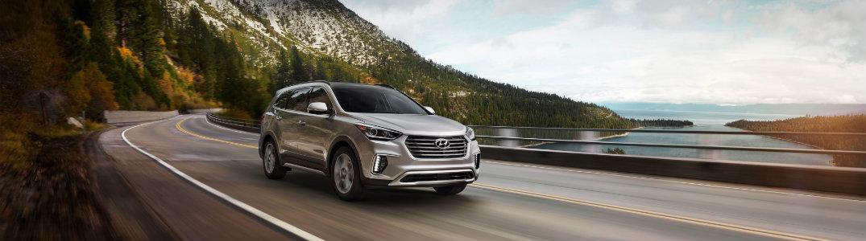 2018 Hyundai Santa Fe XL driving fast down a turn