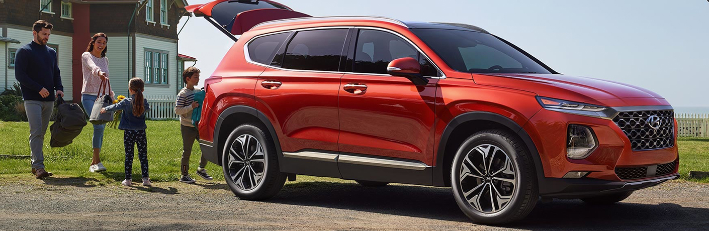 red 2019 hyundai santa fe trunk open