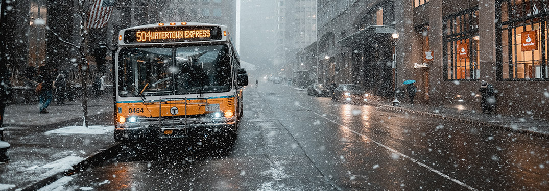 bus in city with winter weather