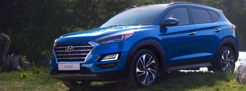 blue 2020 hyundai tucson front view