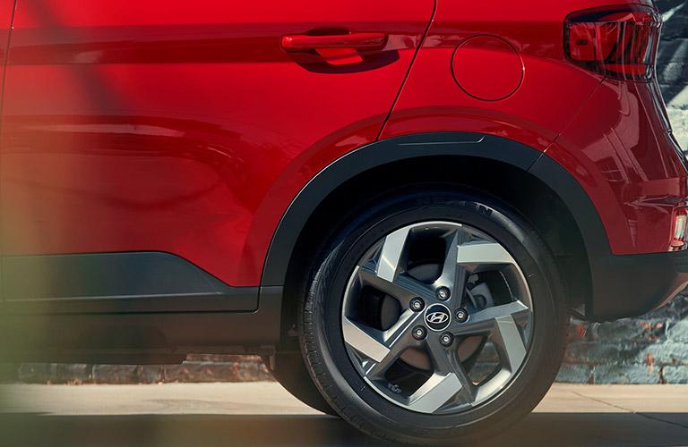 wheel design on a red 2020 Hyundai Venue