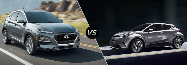 2018 Hyundai Kona vs 2018 Toyota C-HR exterior of both crossovers