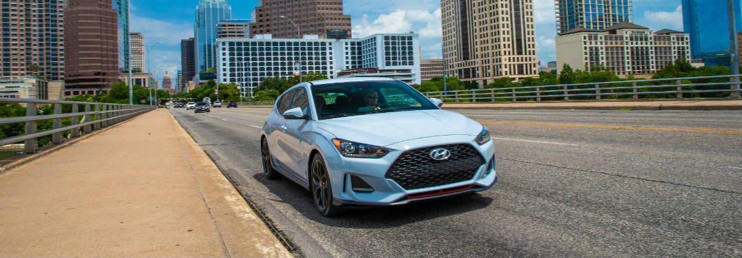 2019 Hyundai Veloster exterior front on road