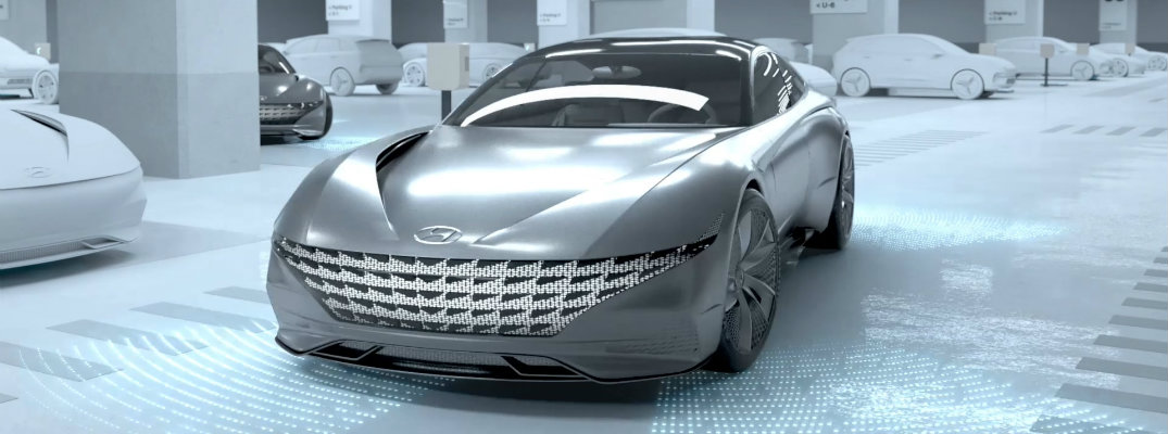 silver electric hyundai in white room