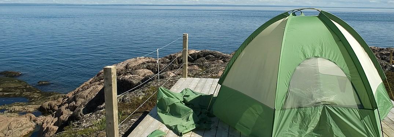 Tent overlooking the ocean