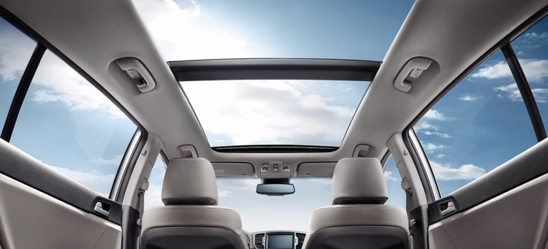 2018 Kia Sportage with a panoramic sunroof inside view