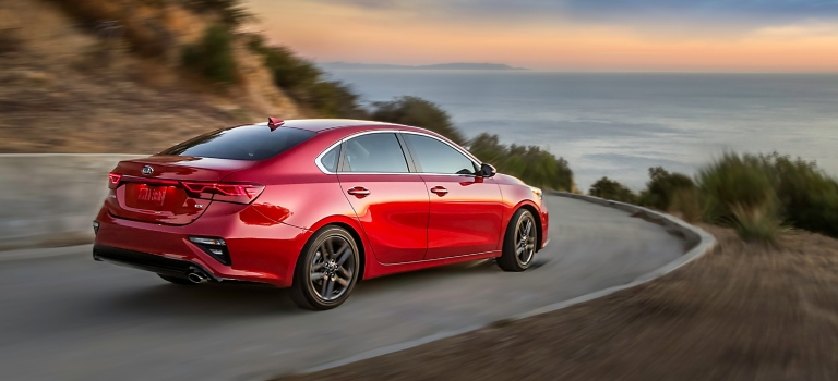 2019 Kia Forte red back view