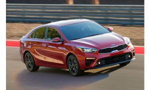 2019 Kia Forte in motion on a track