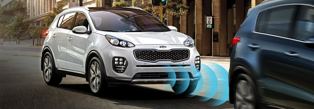 2019 Kia Sportage white front view with tech lines in front