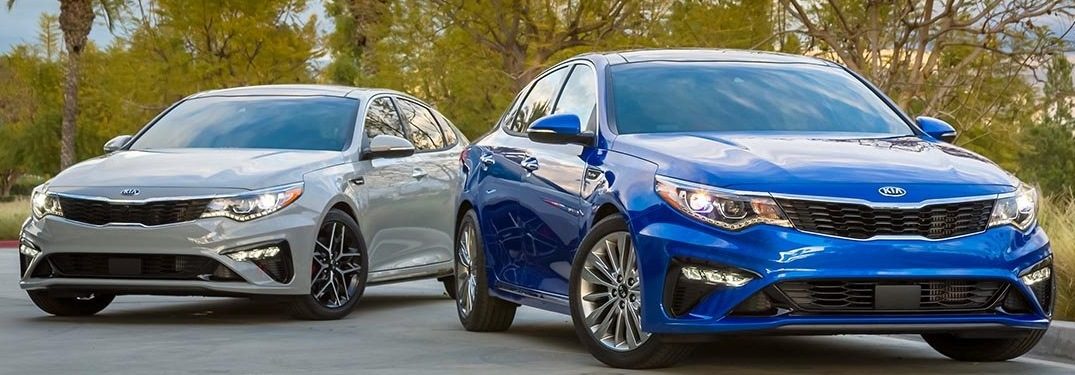 2019 Kia Optima in blue and white front view