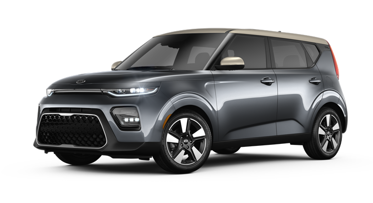 2020 Kia Soul Gravity Gray and Platinum Gold two-tone side view