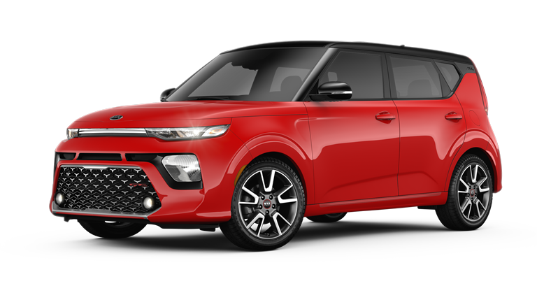 2020 Kia Soul Inferno Red and Cherry Black two-tone side view