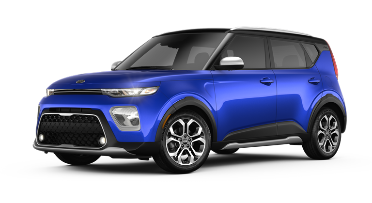 2020 Kia Soul Neptune Blue and Cherry Black two-tone side view