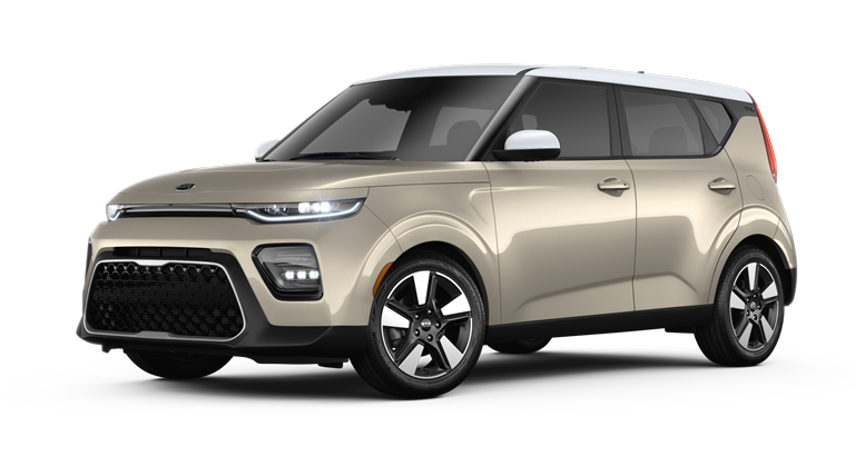 2020 Kia Soul Platinum Gold and Clear White two-tone side view