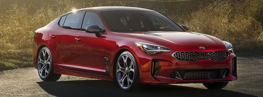 Exterior view of a red 2019 Kia Stinger