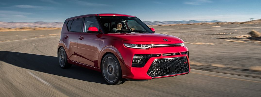 Exterior view of a red 2020 Kia Soul