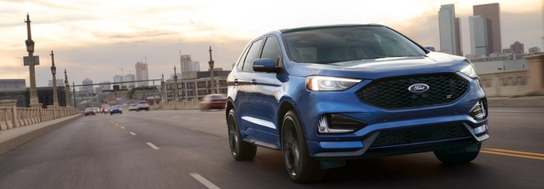 2019 Ford Edge driving down a highway