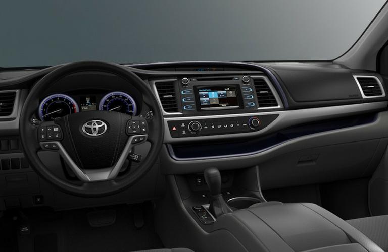2018 Toyota Highlander dash and wheel view.