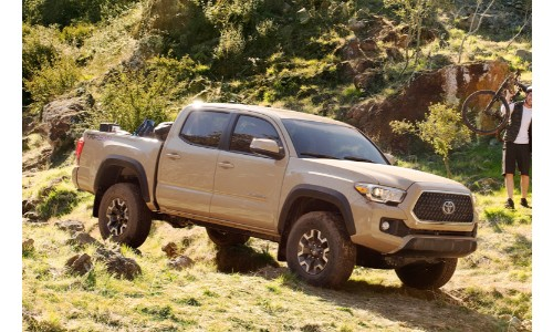 2019 Toyota Tacoma exterior side shot with beige paint color driving down a rocky, grassy hill terrain