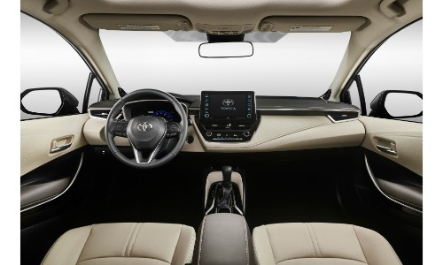 2020 Toyota Corolla interior shot of front seating and dashboard layout and features