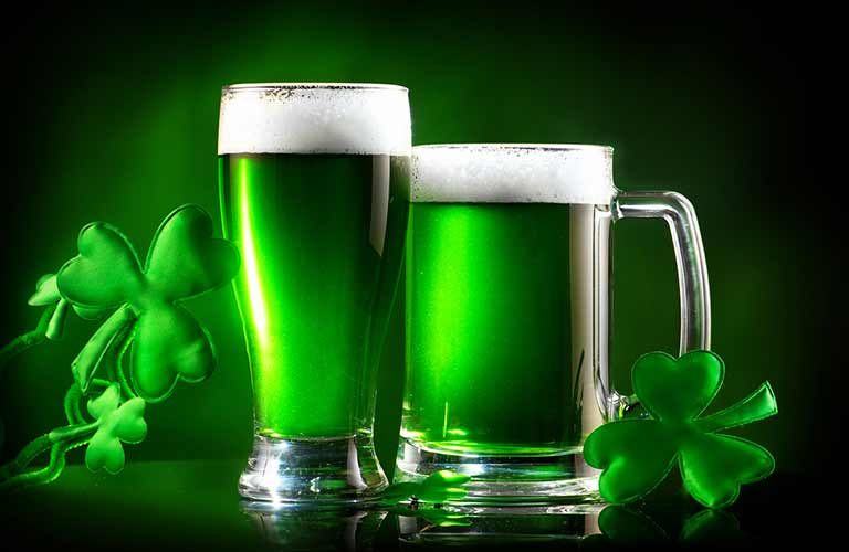 green beer on green background