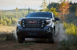 gmc sierra by a forest