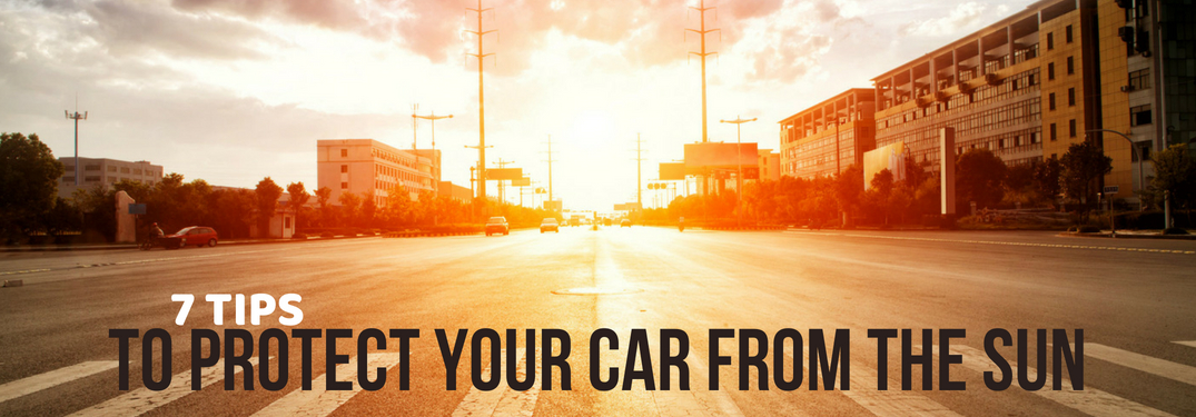 image-of-multiple-lane-street-looking-toward-sunset-with-title-that-reads-7-tips-to-protect-your-car-from-the-sun