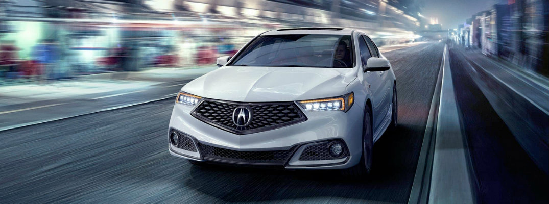 front-end-view-of-white-2018-Acura-TLX