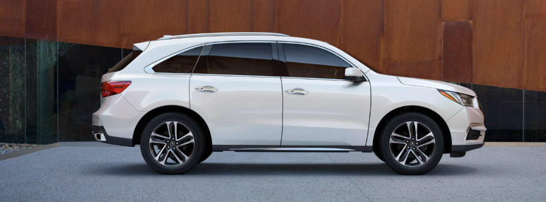 Side profile of white 2018 Acura MDX