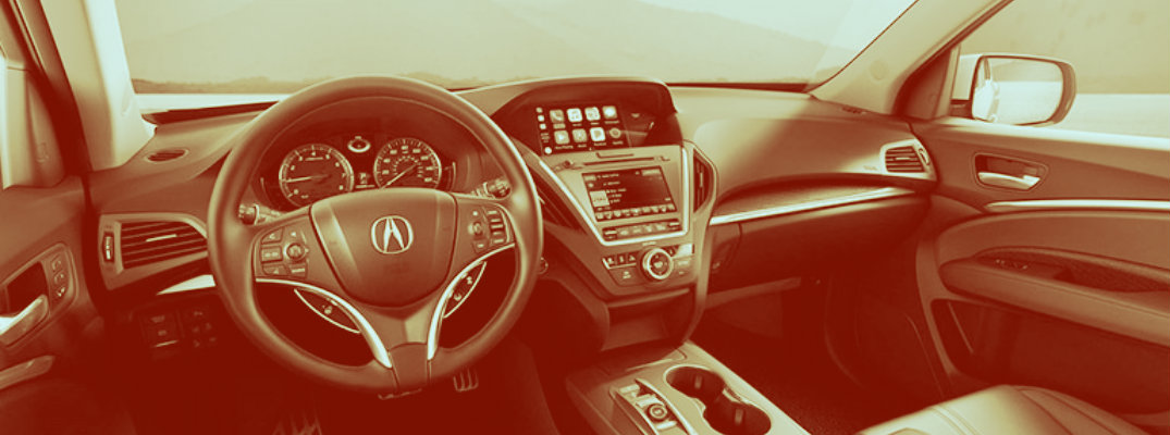 Sepia-tone image of the 2019 Acura MDX front dash