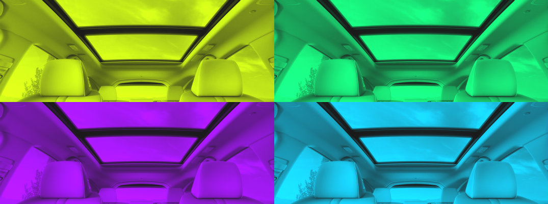 4-color images of a sunroof in an Acura vehicle