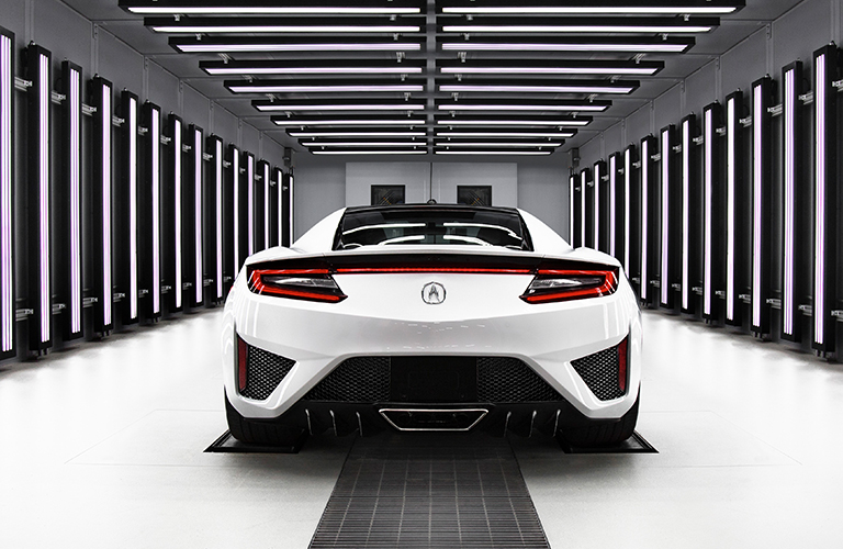 rear end of white acura nsx