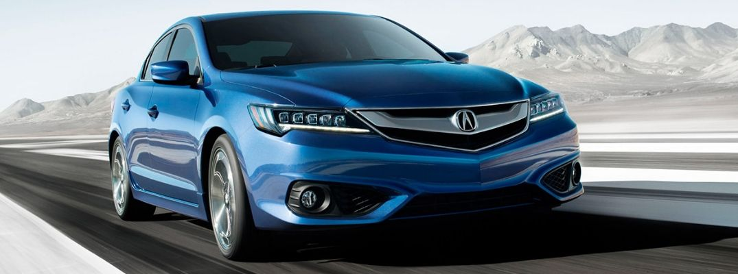 Exterior view of a blue 2017 Acura ILX