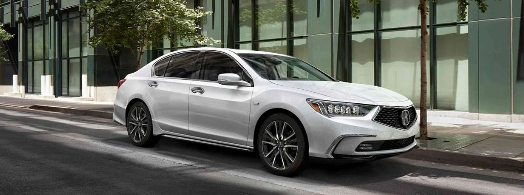 Exterior view of a white 2019 Acura RLX Sport Hybrid