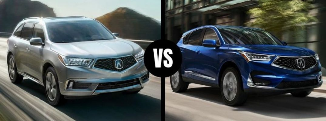Comparison image of a silver 2019 Acura MDX and a blue 2019 Acura RDX