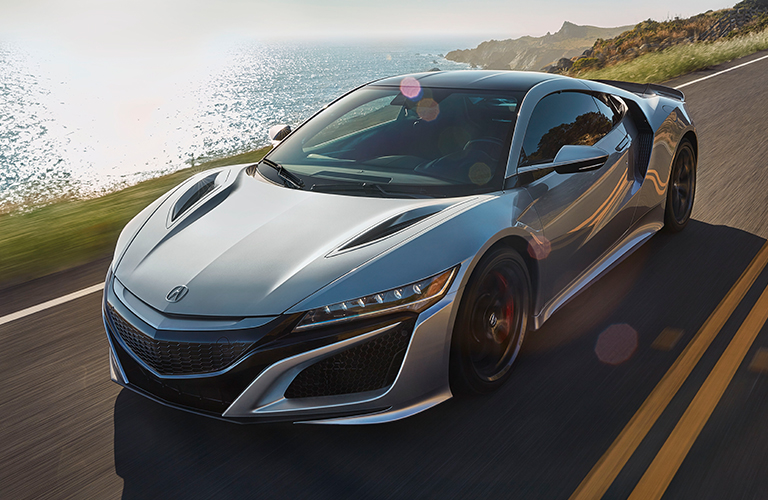 Exterior view of a silver 2019 Acura NSX