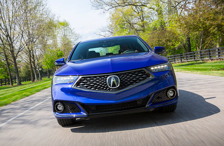 Exterior view of a blue 2019 Acura TLX