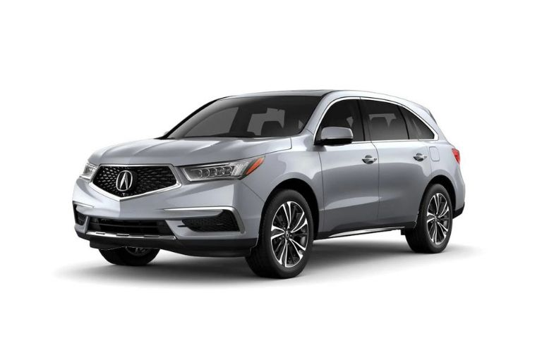 Exterior view of a silver 2020 Acura MDX with Entertainment Package