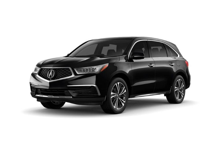 Exterior view of a black 2020 Acura MDX with Technology Package