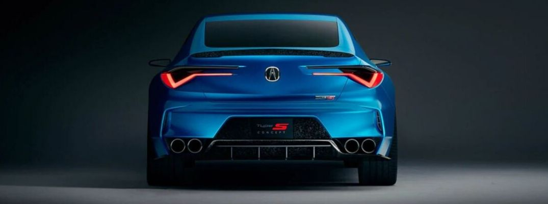 Exterior view of the rear of a blue Acura Type S concept vehicle