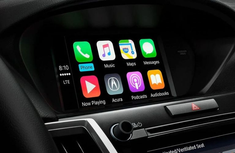 Interior view of Apple CarPlay™ on the touchscreen inside the 2020 Acura TLX