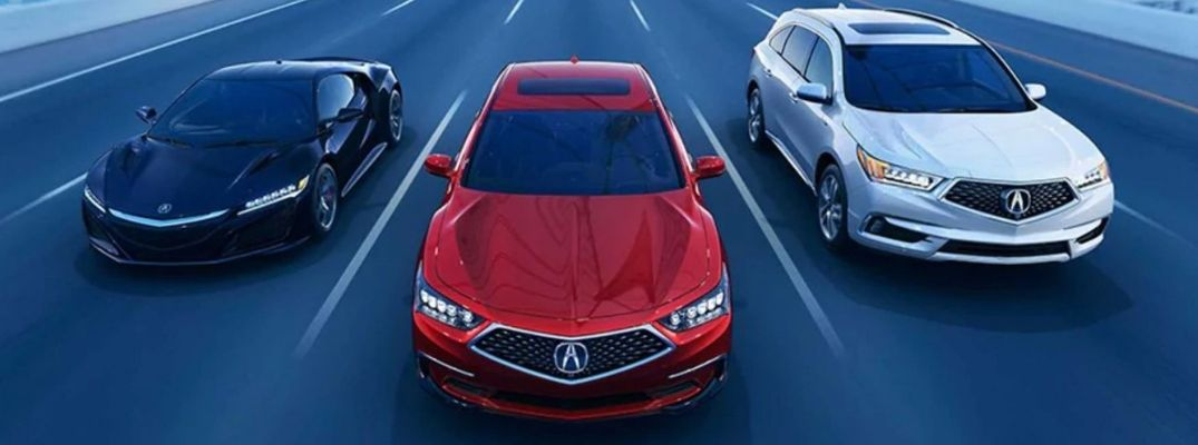 Exterior view of the three 2020 Acura Sport Hybrid models driving down the highway