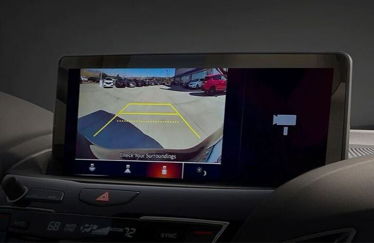 Closeup view of the Acura Multi-View Rear Camera inside a 2020 Acura model